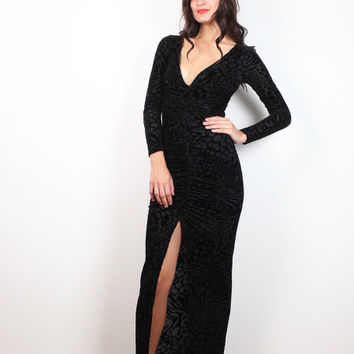 Vintage 90s Dress Black Burnout Velvet Gown High Slit Morticia Addams Maxi Dress 1990s Goth Gown Long Sleeve Deep v Bodycon Burn Out XS S