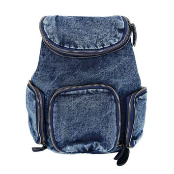 4 Zippered Drawstring Denim Backpack