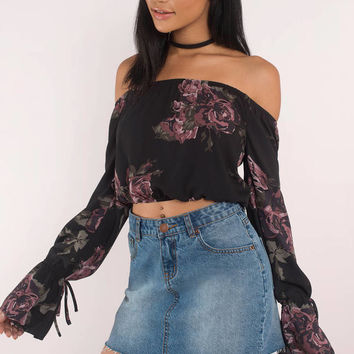 Roses Off Shoulder Floral Print Top