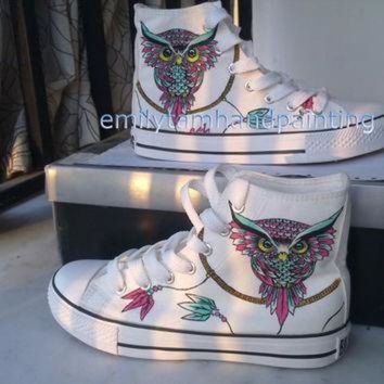 ICIKGQ8 dreamcatcher converse sneakers with owl custom shoes owl and dreamcatcher inspired