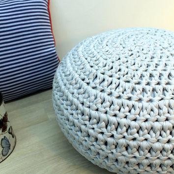 Gray Cushion, Floor Cushion, Crochet Pillow, Floor Pillow, Gray Pillow, Pouf Ottoman, Crochet Cushion
