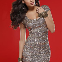 PRIMA Glitz GX1311 Cap Sleeve Sequin Cocktail Dress