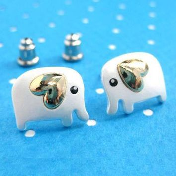 Baby Elephant Shaped Animal Stud Earring in Silver with Heart Shaped Ears