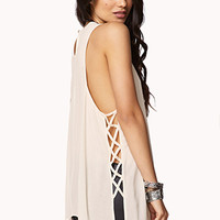 Sleek Lattice Cutout Trapeze Tank