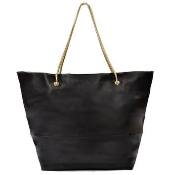Magdalena East West Tote Black w/ Gold