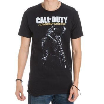 First-Person Shooter Call of Duty Advanced Warfare Logo & Gunman Black Men's T-Shirt