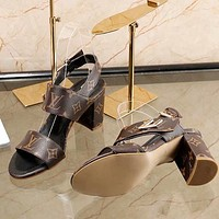Louis Vuitton Women Fashion Simple Casual  High Heeled Sandals Shoes