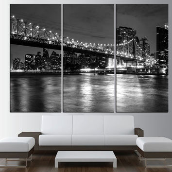New York city skyline black and white wall art Canvas, extra large wall art, new york wall art print, new york canvas t457