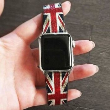 Flag Printing Leather Apple Watch Band