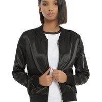 Almost Famous Black Satin Girls Bomber Jacket