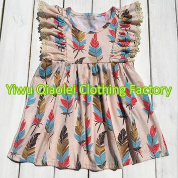 Thanksgiving GIRL dress feather high quality boutique high quality kids girl dress