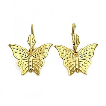 Gold Layered 5.111.014 Dangle Earring, Butterfly Design, Diamond Cutting Finish, Gold Tone