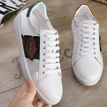GUCCI 2018 summer new campus wind wire classic white shoes F-OMDP-GD