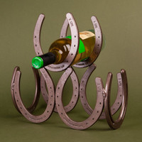 Horseshoe Wine Rack- display three wine bottles cowboy style - Free US Shipping