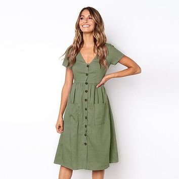 Women Solid Midi Dress Sexy V Neck Short Sleeve Casual With Pockets Buttons 2018 Fashion Summer Pleated Ladies ALine Dresses New