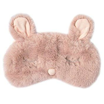 Ayygiftideas New Fashion Plush Rabbit Eye Mask Cute Sleeping Blindfold Eye Cover