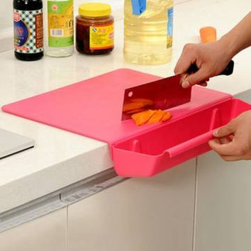 2 in 1 Thickened Antibacterial Cutting Board with Collecting Board