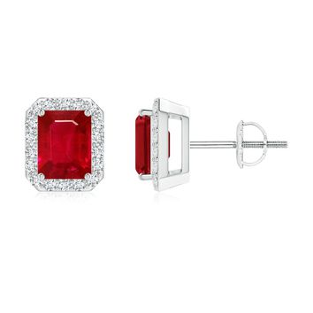 Vintage Inspired Emerald Cut Ruby and Diamond Halo Earrings
