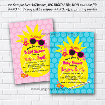 Pineapple Invitation, summer baby shower, bridal, aloha party, pineapple baby girl, wedding, party invitation - card 991