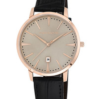 Vince Camuto Ladies Rose Gold Tone Watch with Leather Strap