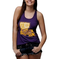 Geaux Tigers Tank - Purple with Louisiana Print