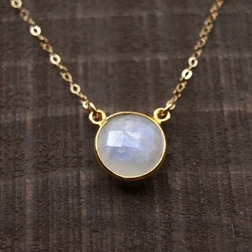 Moonstone Circle Necklace