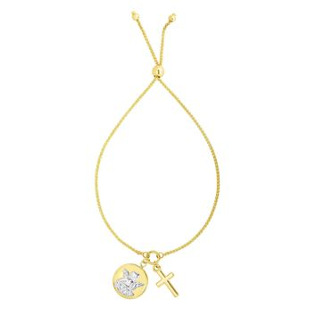 """14k Yellow And White Gold Cross And Angel Adjustable Bracelet, 9.25"""""""