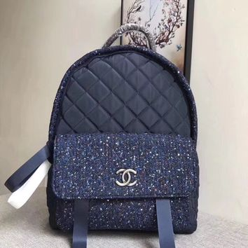CHANEL NEW STYLE CLOTH AND LEATHER BACKPACK BAG