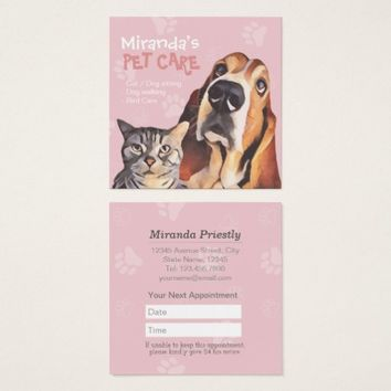 Pet Care Sitting Bathing and Grooming Beauty Salon Square Business Card