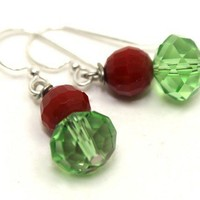 Christmas Green Crystals and Red Agates Drop Earrings