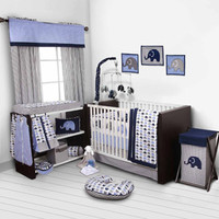 Walmart: Bacati Elephants 10-Piece Nursery in a Bag Crib Bedding Set, Blue/Gray