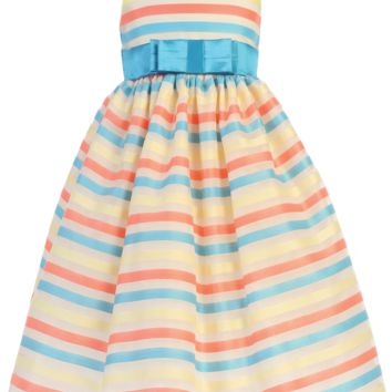 Striped Organza Overlay Ivory Satin Spring Dress w Turquoise Sash (Baby, Toddler & Little Girls Sizes)