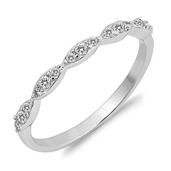 CHOOSE YOUR COLOR Sterling Silver Wedding Stackable Ring