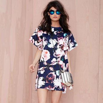 Floral Print Batwing Sleeve Loose Mini Dress