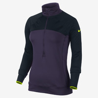 The Nike Pro Hyperwarm Fitted Max Shield Half-Zip Women's Training Top.