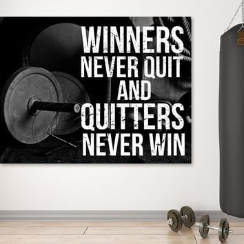 Winners Never Quit And Quitters Never Win Motivational Gym Fitness Framed Wall Art Canvas