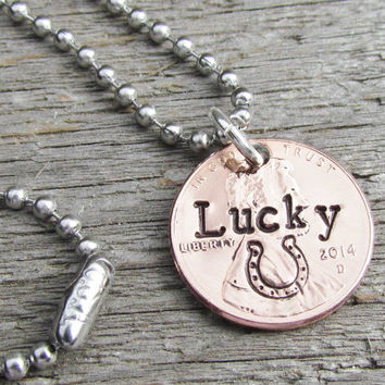 Penny Necklace Hand Stamped Lucky 2014 Fun Good Luck Charm Man Mens Jewelry or Woman Can Be Personalized With Name