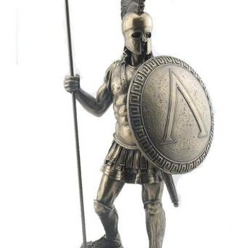 Spartan Warrior with Spear and Hoplite Shield, Bronze finish - 8425