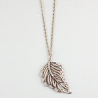 Full Tilt Rhinestone Feather Necklace Gold One Size For Women 24028062101