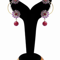 Beautiful Fashion Earrings for Girls in Pink and Red Beads