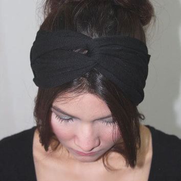 Super Black Twist Headband Modern Fashion by myhaircraftshop