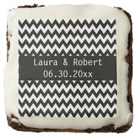 Personalized Black and White Wedding Brownie