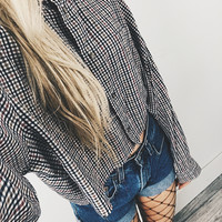 Vintage Checkered Button Up Raw Cropped Shirt