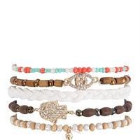 Five Bracelet Set with Hamsa and Wood Beads