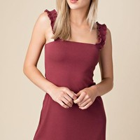 Chipped Shoulder Mini Dress in Wine