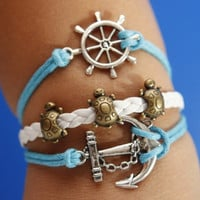 Silver Anchor Bracelet Rudder Bracelet Longevity Turtle Bracelet Blue Wax Cord White Braided Leather Bracelet