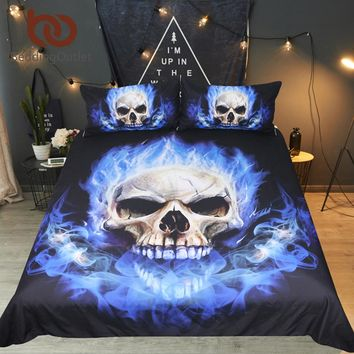 Flame Skull Bedding Set King 3D Printed Duvet Cover Blue Fire Bedclothes 3pcs