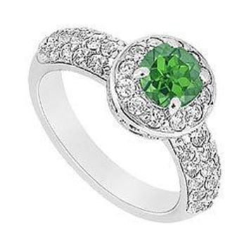 Emerald and Diamond Engagement Ring : 14K White Gold - 1.25 CT TGW