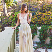 2-PIECE Lace Backless Wedding Dress. DREAMY SILK chiffon skirt + Plunge Front. low back dress. simple elegant bohemian dress. ivory lace