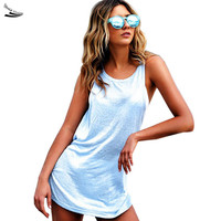 O-neck sleeveless backless beach dress